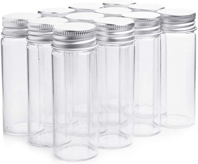 Danmu Art Vials - Botes de cristal transparente vacíos con tapa de rosca de aluminio para almacenamiento de maquillaje en polvo, crema, aceite esencial, dulces, alimentos (40 ml)