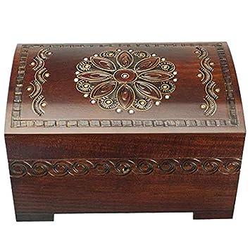 Baúl de madera hecho a mano de esmalte de grande Floral joyería Caja de recuerdos con candado y llave: Amazon.es: Hogar