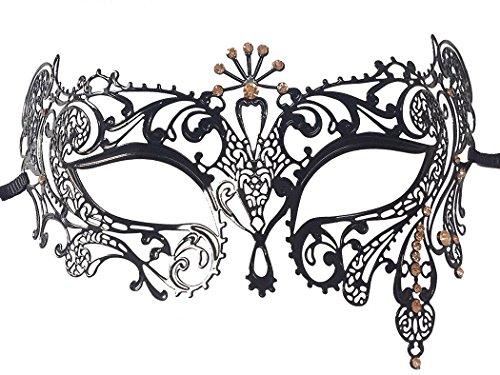 [Opera Laser Cut Masquerade Mask Half Face Mask Silver Crystal Decor Venetian Mask] (Simple Halloween Masks)