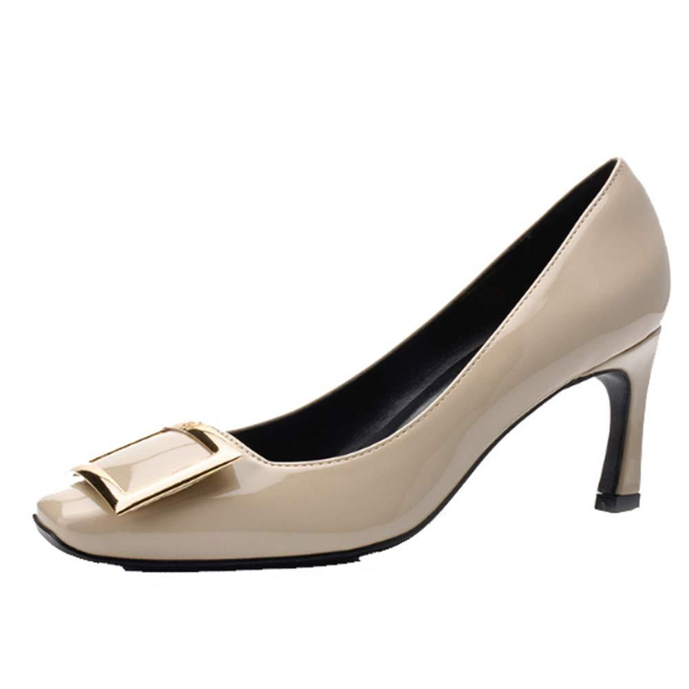 Martin Stiefel Braut Hochzeit Schuhe Temperament Metall Quadrat Schnalle High Heels Europa Und Amerika Flachen Mund Lackleder Quadratischen Kopf Einzelne Schuhe