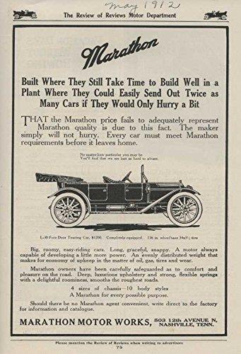 1912 Marathon Fore Door Touring Car Nashville TN Automobile Magazine Ad by Marathon