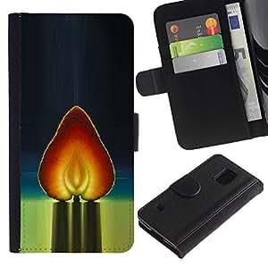 For Samsung Galaxy S5 V SM-G900,S-type® Heart Strawberry Red Watercolor - Dibujo PU billetera de cuero Funda Case Caso de la piel de la bolsa protectora