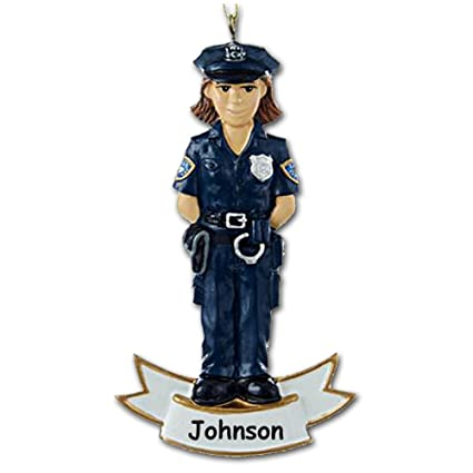 Amazon.com: Kurt Adler Personalized Female Law Enforcement Officer ...