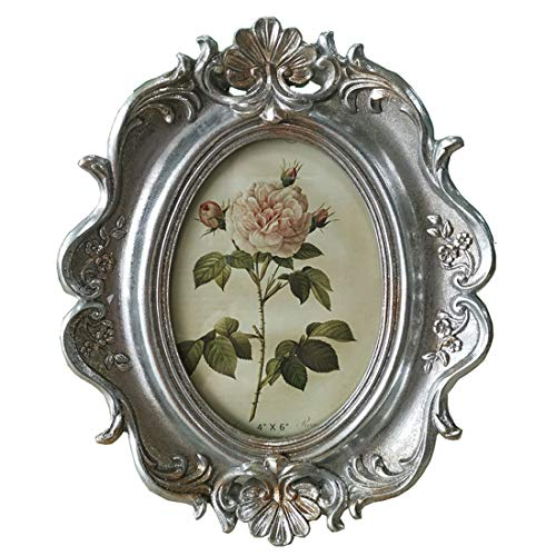 (SIKOO Vintage Picture Frame 4x6 Oval Table Top and Wall Mounting Photo Frame with Glass Front for Home Decoration(Silver))