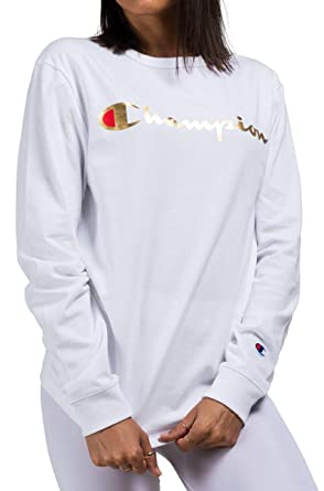 9a5eb5073231 Amazon.com  CHAMPION Unisex Heritage Long Sleeve Tee Tshirt Gold Shiny  Script Spellout Logo-WHITE XS  Clothing