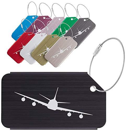 Travelambo Aluminum Luggage Tags & Bag Tags (mixed colors with prints 10 pcs set)