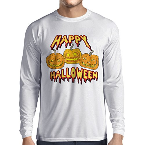 Long Sleeve t Shirt Men Happy Halloween! Party Outfits & Costume - Gift Idea (XS White Multi Color)