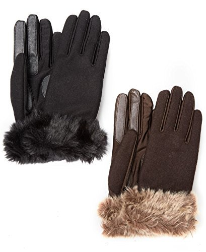 Isotoner Stretch Wool Long Faux Fur Cuffed SmarTouch Tech Gloves (XL, Brown)