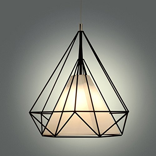 Modern Scandinavian Minimalist Bird Cage Pendant Lamps Art Diamond Pyramid Pendant Lights Vintage Iron Rustic loft pyramid lamp (Black) - Diamond Tiffany Single Light