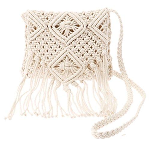 Price comparison product image GUCHIS Retro Women Cotton line Crossbody Bag Hollow Out Woven Tassel Bag Bohemian Beach Messenger Bag