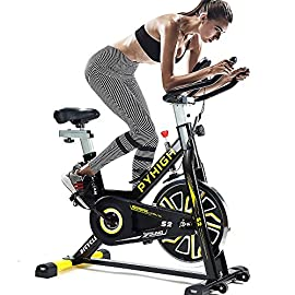 PYHIGH Indoor Cycling Bike Stationary Exercise Bike, Comfortable Seat Cushion, Ipad Holder with LCD Monitor for Home…