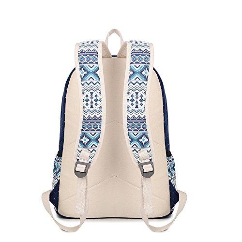 Escolares Viaje Moda Backpack Del Lunar Étnico Azul Bolsa Escolar Estilo Mujer Mochila Minetom Casual Lona Mochilas q8SRt