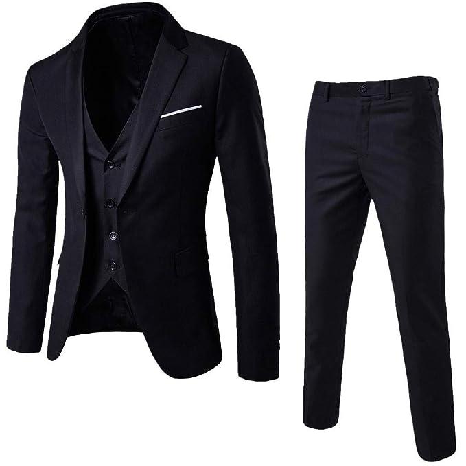 Amazon.com: TJTG - Conjunto clásico de traje de 3 piezas ...