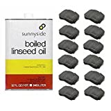 SUNNYSIDE CORPORATION 1-Quart Boiled Linseed Oil with 12-Pack #0000 Super Fine Wool Pad