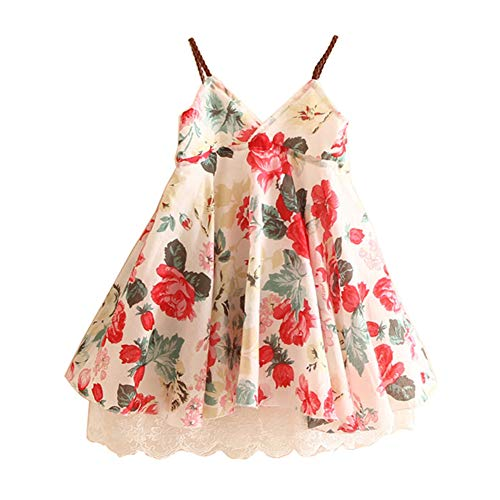 LittleSpring Little Girls Floral Sundress Sleeveless Lace Dress 6 Beige -