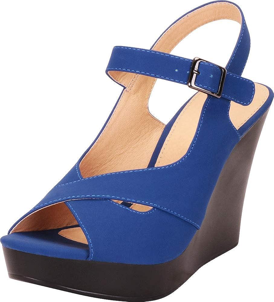 Royal bluee Nbpu Cambridge Select Women's Peep Toe Crisscross Strappy Chunky Platform Wedge Sandal