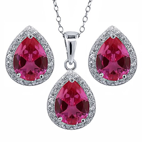 650-Ct-Pear-Shape-Red-Created-Ruby-925-Sterling-Silver-Pendant-Earrings-Set-With-18-Inch-Silver-Chain