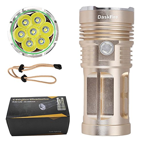 Powerful Handheld Flashlight, SKY RAY King 7 XML T6 Led, High Low Strobe Modes, Powered by 1/2/3/4 x 18650 Battery (Gold) (Ray Flash)