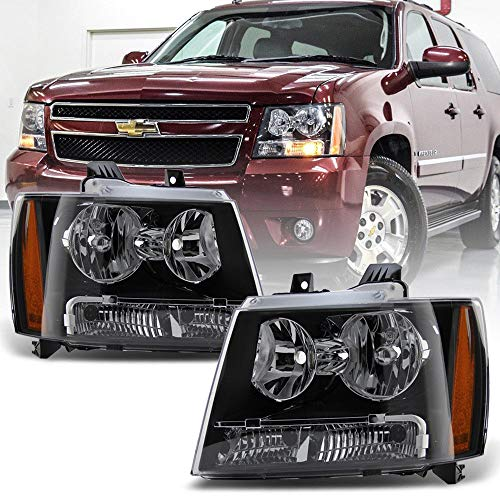 ACANII - For Black 2007-2014 Chevy Suburban Tahoe Avalanche Headlights Aftermarket Driver + Passenger Side