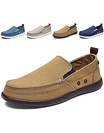 10cd965e6 Men's Slip on Deck Shoes Loafers Canvas Boat Shoe Non Slip Casual Loafer Flat  Outdoor Sneakers