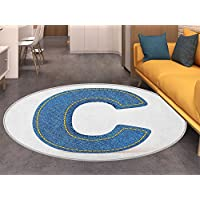 Letter C Round Area Rug Alphabet Sign Writing Language Symbol Uppercase C Denim Retro Design Stitches Living Dinning Room & Bedroom Rugs Blue Yellow