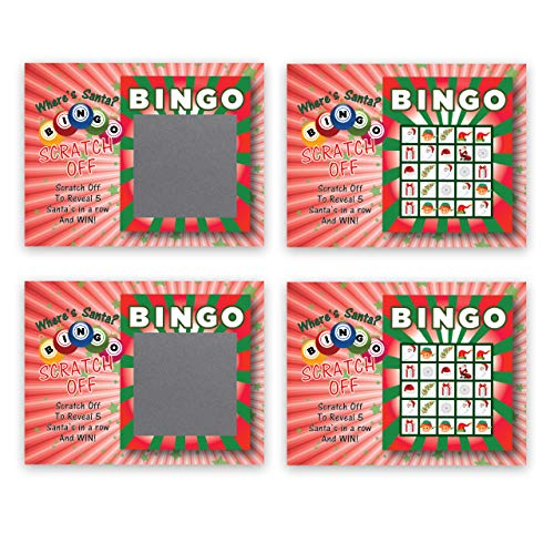 My Scratch Offs Santa Bingo Christmas Holiday Scratch Off Game Cards - 3 x 4 Inches - 26 Pack