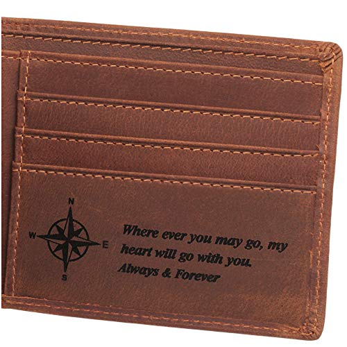 Always and Forever, Personalized Engraved Wallet for Men, Personalized Gifts for Men, Birthday Gifts for Men, Mens Leather Wallet for Anniversary Gifts, Man Gifts Ideas (Best Message For A Boyfriend)