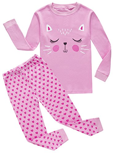 Girls Pyjama Set - IF Pajamas Cat Big Girls Autumn Pajamas Sets 100% Cotton Sleepwears Kids Pjs Size 8