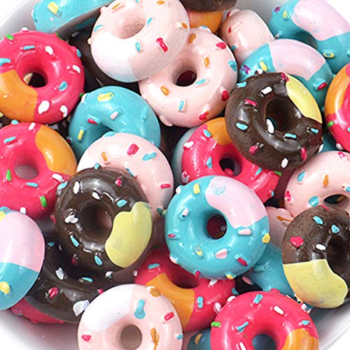 Assorted 30 Pcs Cute Slime Charms Beads Cookies Donut Macaron Dessert Ice Cream Resin Charms Slices Flatback Buttons for Handicraft Accessories Scrapbooking Phone Case Decor Jewelry Making (tianquan) ()