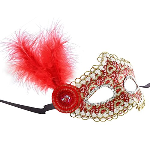 Masquerade Mask, Women's Shiny Rhinestone Soft Feathers Venetian Mask for Party Evening Halloween (Decorativos De Halloween)