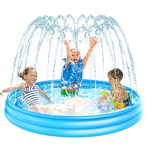 Pimpimsky Sprinkler for Kids Inflatable Splash Pad, Upgraded 62'' Sprinkler Play Pool for Toddlers Thickened Durable Wading Mat Splash Swimming Pool, Summer Outdoor Water Toys Gift for Boys Girls