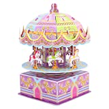 Zooawa Kids 3D Carousel Puzzle, Whirligig Music Box DIY Building Puzzle Toys, Child Early Learning Educational Hand Craft Jigsaw Set, Brain Teasers Playing Model for Toddler Boys Girls, Colorful