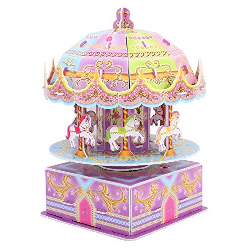 [해외]Zooawa 아동용 3D 회전목마 퍼즐 Whirligig Music Box DIY 빌딩 퍼즐 장난감 어린이 조기 교육 수공예 직소 세트 유아 소년 소녀를 위한 뇌 티저 재생 모델 다채로운 색상 / Zooawa Kids 3D Carousel Puzzle, Whirligig Music Box DIY Building Puzz...