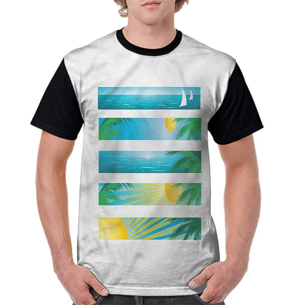 Printed T-Shirt,Banner Stripes Exotic Fashion Personality Customization