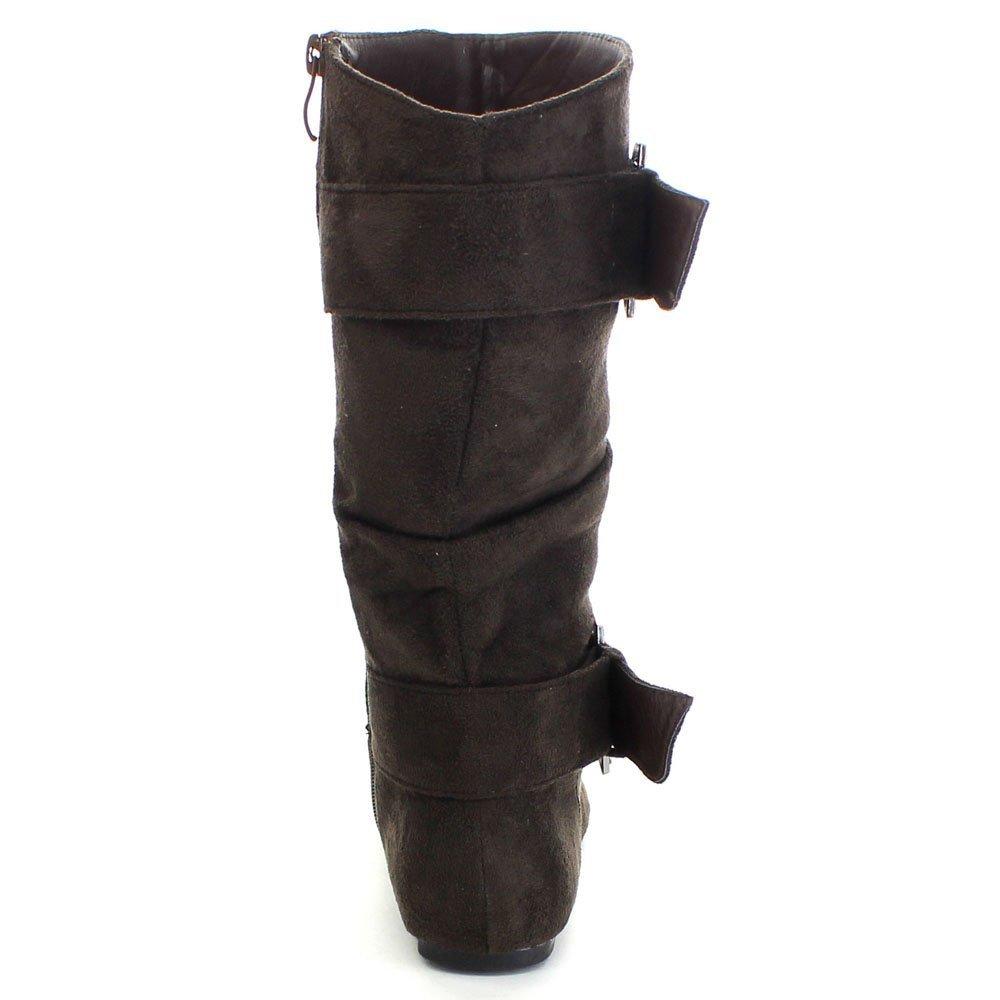 QQ Girls Bella-6 Girls Rhinestone D Buckle Strap Side Zip Flat Boots