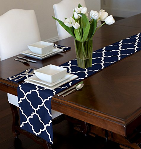 A LuxeHome Navy Blue and White Modern Contemporary Trellis Table Runner Mat Topper 12