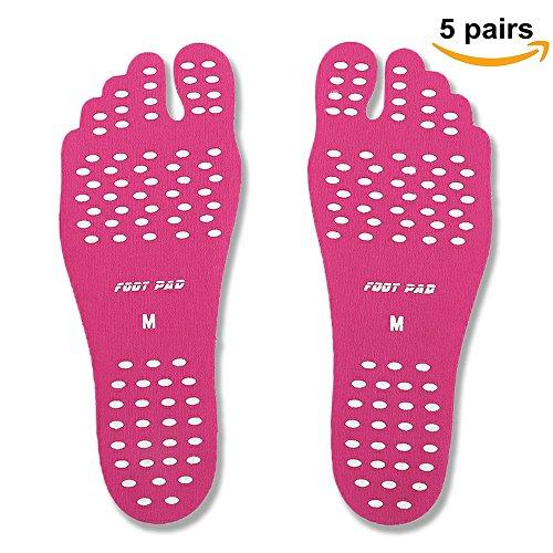 Suelas para andar descalzo Olanstar unisex, adhesivas, antideslizantes, antiarañazos, impermeables, resistentes al calor, para caminar libremente (5pares) rosa
