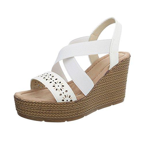 Weiß Ital L713h femme Design chaussures compensées wwpZ6