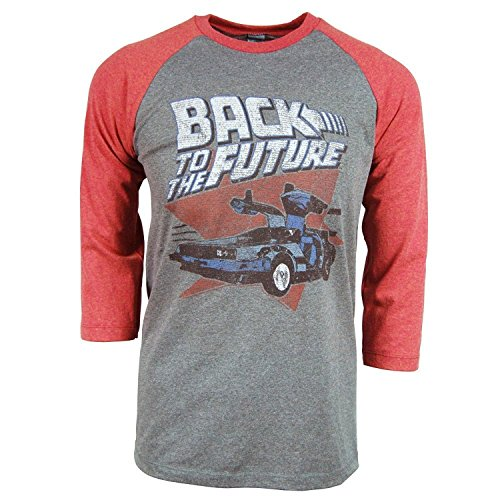 Back To The Future Red and Blue Adult Soft Raglan T-Shirt (Future T-shirt Tee)