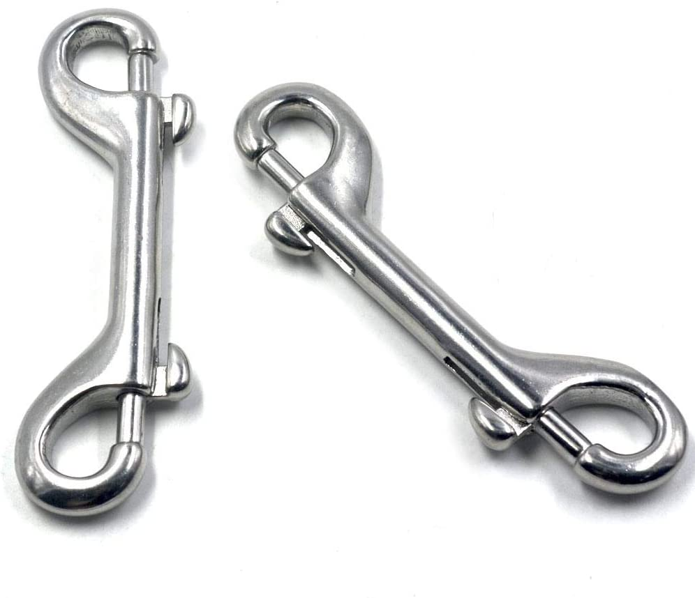 YDSHOLL 5 Pieces Silver 115mm Trigger Hook Double End Bolt 304 Stainless Steel for Lifting Slings