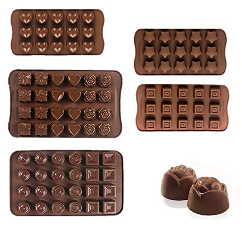 Chocolate Silicon Molds Cake Decorating - Set Of 5 Chocolate Molds - Best For Cake Decorations, Chocolate Candy Molds, Silicone Mold, Hard Candy Molds, Jello Shot Molds by Devbor