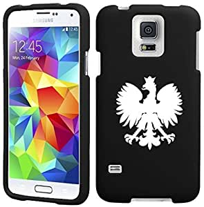 Samsung Galaxy S5 Active G870 Snap On 2 Piece Rubber Hard Case Cover Poland Polish Eagle (Black)
