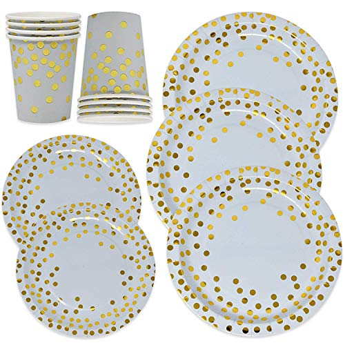 150 Blue and Gold Party Supplies Disposable Paper Plates and Cups Set for 50, Gold Metallic Foil Dots on Blue 50 Dinner Plates 50 Dessert Plates 50 9 oz Cups for Boy Baby Shower Babys First Birthday Birthday Boy Dinner Plate