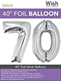 Wish Party Goods Extra Large Giant Jumbo 40 inch Silver Color High Quality Mylar Foil Number Balloons - Special Milestone Birthday/Anniversary/Wedding Party Event Decorations (70)