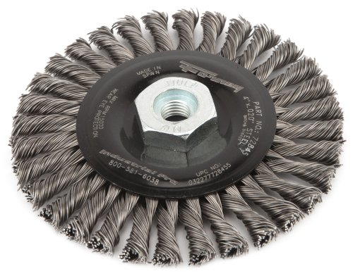 Forney 72845 Wire Wheel Brush, Industrial Pro Stringer Bead Twist Knot with M10-by-1.25/1.50 Multi Arbor, 4-Inch-by-.020-Inch