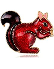 CXBH Fashion Women Men's Alloy Lovely Animal Party Banquet Weddings Brooch Gifts Cartoon Red Squirrel Enamel Brooches (Color : A)