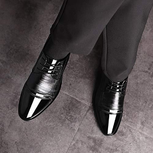 Moderno Charol Ligero Traje Vestir Marrón Elegante Casual Zapatos Negocios Calzado Oxford Cordones Cuero Negro Boda 48 Negro Derby Cómodo 38 Hombre ZxqnqOgSEw