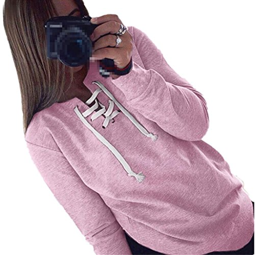 TOPUNDER Women Autumn Long Sleeve Pullover Lace-up Tops Blouse Casual Sports T-Shirt (M, Pink)
