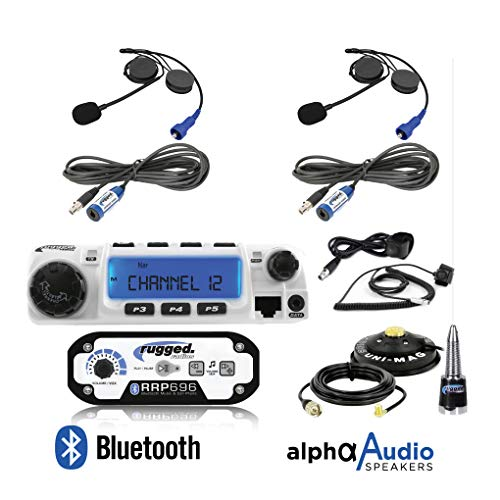 System Person Intercom (Rugged Radios RRP696 Intercom and RM60 60 Watt VHF Two Way Mobile Radio 2 Place Race System Kit with Helmet Kits, Push to Talk Cables, Intercom Cables, Antenna and Antenna Mount)