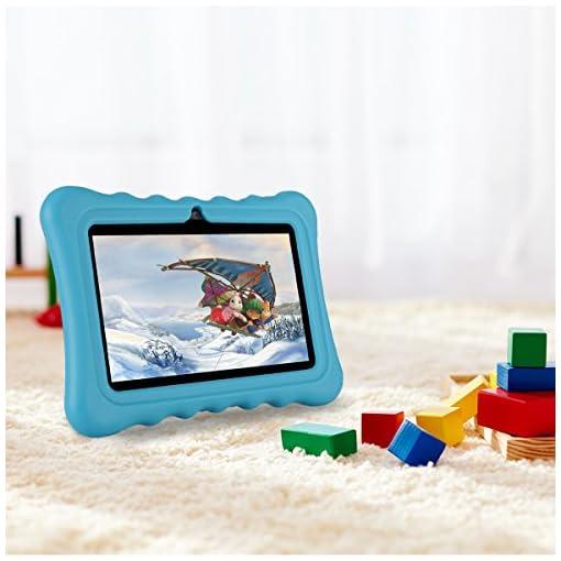 Tablet para niños con WiFi de 7 Pulgadas,Tablet Infantil de Android 7.1, Regalo para niños,Tablet portátil de Quad Core 1GB+8GB,Soporta Tarjeta TF 64GB,Doble cámara,Juegos educativos 2
